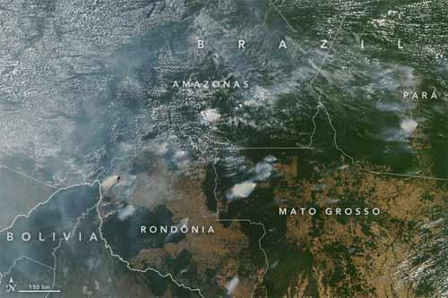 Foto da Nasa com incêndios em Rondônia, Amazonas, Pará e Mato Grosso, em agosto
